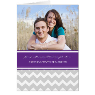 Plum Gray Chevrons Engagement Photo Announcement