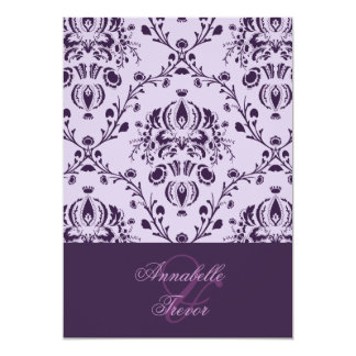 Plum/lilac damask, custom wedding 13 cm x 18 cm invitation card