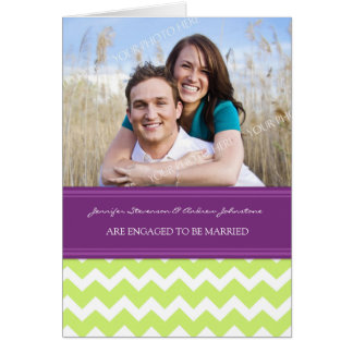 Plum Lime Chevrons Engagement Photo Announcement Greeting Card
