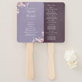 Plum Mauve and Lilac Vintage Flora Wedding Program Hand Fan