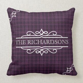 Plum Plaid Wedding Anniversary Personalized Tartan Cushion