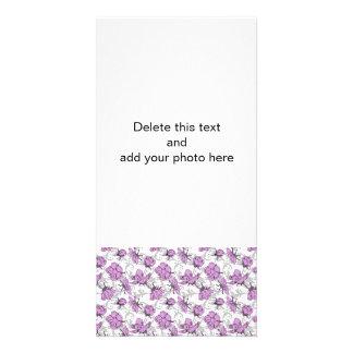 Plum Purple and Gray Vintage Floral Pattern Customised Photo Card