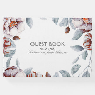 Plum Purple Floral Bouquet Watercolor Chic Wedding Guest Book