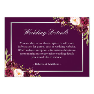 Plum Purple Floral Silver Grey Wedding Details Card