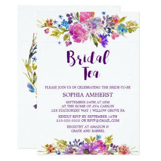 Plum Purple Garden Bridal Tea Shower Invitation