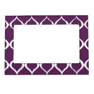 Plum Purple Geometric Ikat Tribal Print Pattern Magnetic Picture Frame