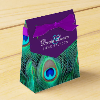 Plum Purple Peacock Wedding Favour Box