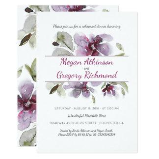 Plum Watercolor Flowers Romantic Rehearsal Dinner 13 Cm X 18 Cm Invitation Card