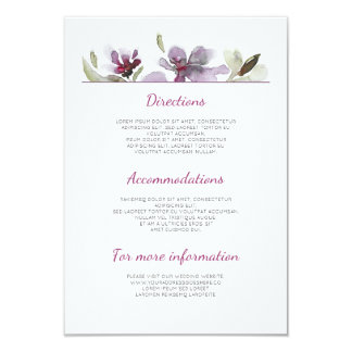 Plum Watercolor Wedding Details - Information Card
