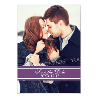 Plum White Photo Winter Wedding Save the Date Card