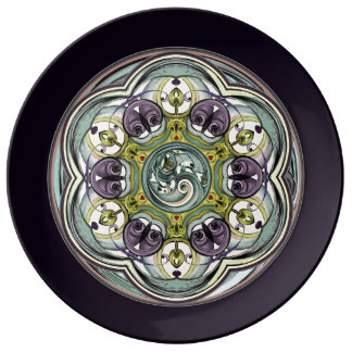 Plum Worlds Within Mandala Porcelain Plate