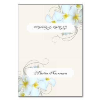 Plumeria Flourish Cream Tented Place Cards
