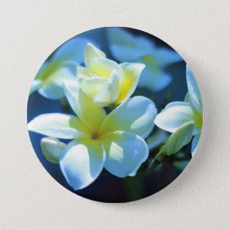 plumeria flower 7.5 cm round badge