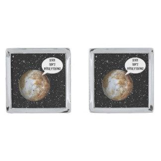 PLUTO - SIZE ISN'T EVERYTHING! (solar system) ~.jp Silver Finish Cufflinks