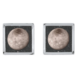 PLUTO'S MOON CHARON star background (solar system) Silver Finish Cuff Links