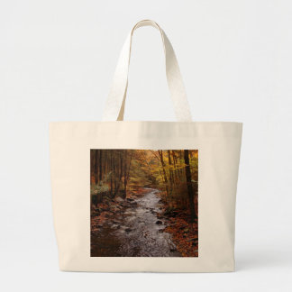 Poconos Stream in Autumn Large Tote Bag