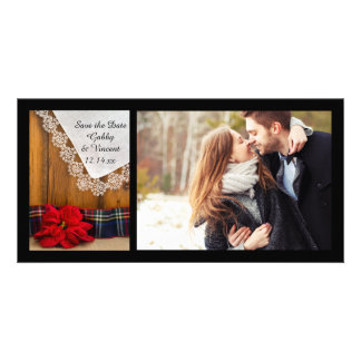 Poinsettia and Plaid Winter Wedding Save the Date Card