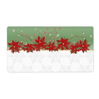 Poinsettia Christmas Kitchen Labels