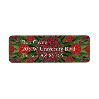 Poinsettia Christmas Mandala Array Mailing Label