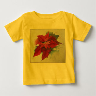 Poinsettia Christmas Oil Painting Baby T-Shirt