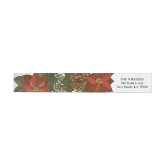 Poinsettia Christmas Wrap Envelope Label
