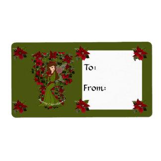 Poinsettia faery Christmas Gift Tag Avery Label