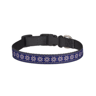 poinsettia hearts winter blue pet collar