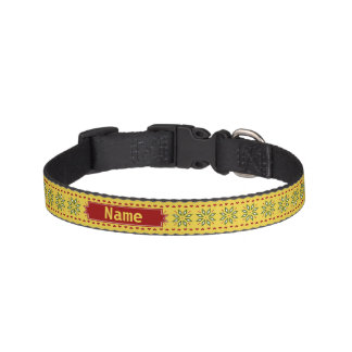 poinsettia hearts winter gold Personalise-It Dog Collar