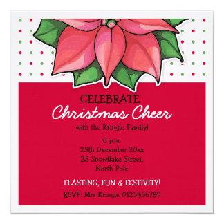 Poinsettia Joy dots red Christmas Invitation