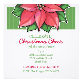 Poinsettia Joy green Christmas Invitation