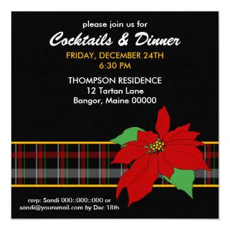 Poinsettia n Plaid Dinner Invitation