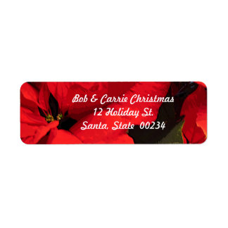 Poinsettia return address label