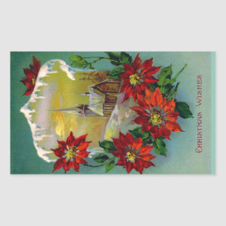 Poinsettias and Peaceful Church Vintage Christmas Rectangular Sticker