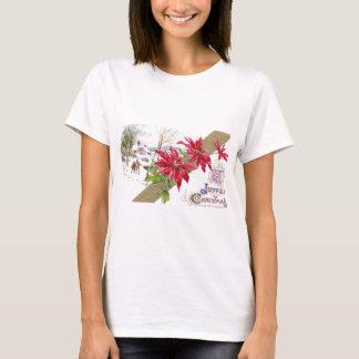 Poinsettias and Shivery Vignette Vintage Christmas T-Shirt