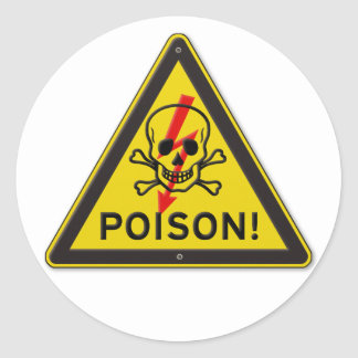 Poison Warning Skull and Crossbones sign Classic Round Sticker