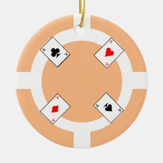 Poker Chip - Peach Christmas Ornament