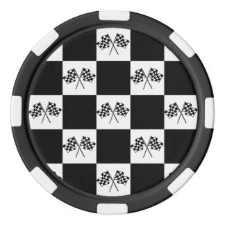 Poker Chip race Flags Win Checkerboard Black White Poker Chips Set