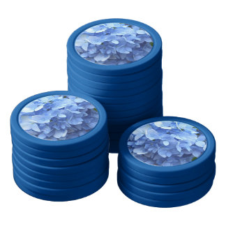 Poker Chip Set - Blue Hydrangea