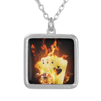 Poker Chips Cards on Fire Silver Plated Necklace