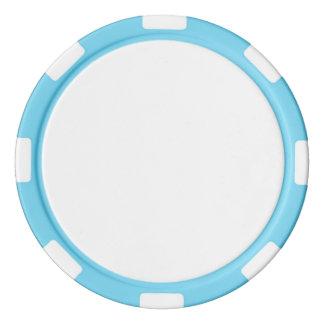 Poker Chips w/ Baby Blue Striped Edge