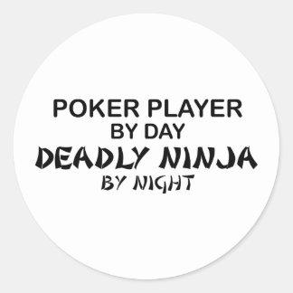 Poker Deadly Ninja by Night Classic Round Sticker