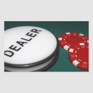 Poker Dealer Button Rectangular Sticker