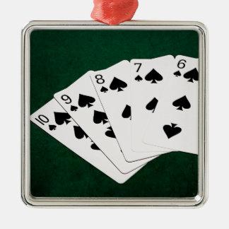 Poker Hands - Straight Flush - Spades Suit Christmas Ornament