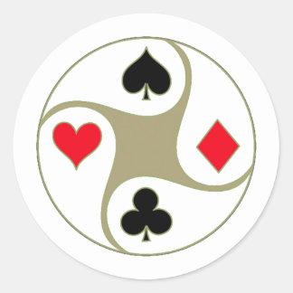 Poker Suits Round Sticker
