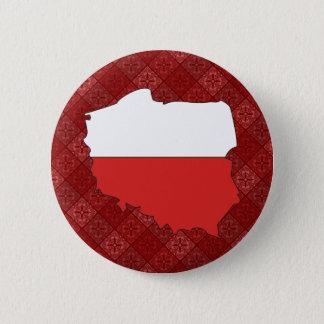 Poland Flag Map full size 6 Cm Round Badge