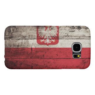 Poland Flag on Old Wood Grain Samsung Galaxy S6 Cases