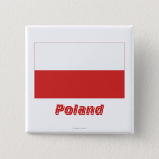 Poland Flag with Name 15 Cm Square Badge