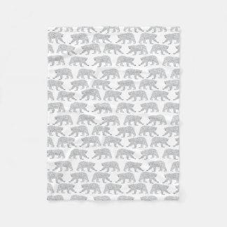 Polar Bear Baby Grey Minimal Nursery Baby Blanket