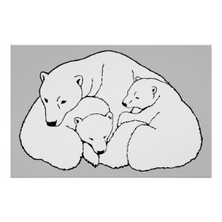 Polar Bear & Cubs Art Print Wildlife Home Decor