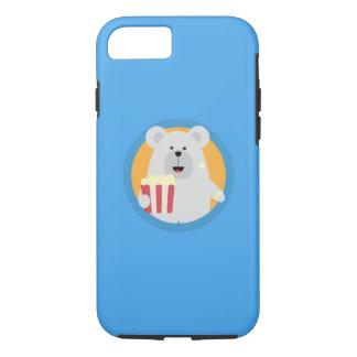 Polar Bear eating Popcorn with circle Q1Q iPhone 8/7 Case